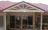 Gable roof with sunburst design
